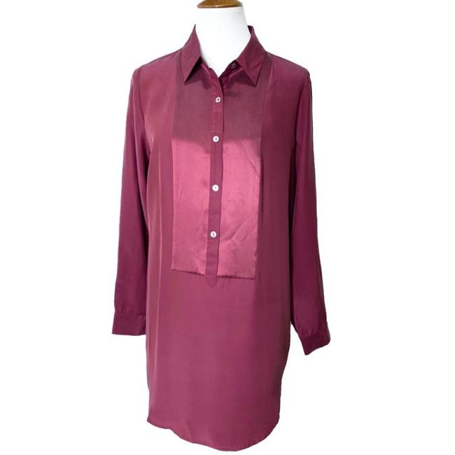 Item - Red Purple Silk Long Sleeve Popover Tunic Size 10 (M)