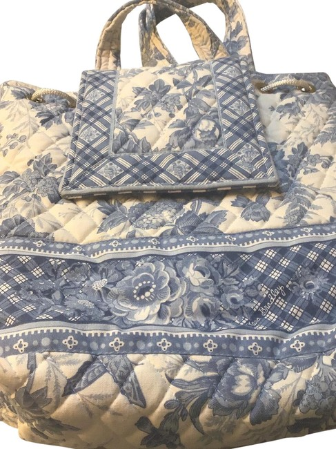Item - Blue and White Cotton Backpack