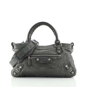 Item - First Giant Studs Gray Leather Satchel