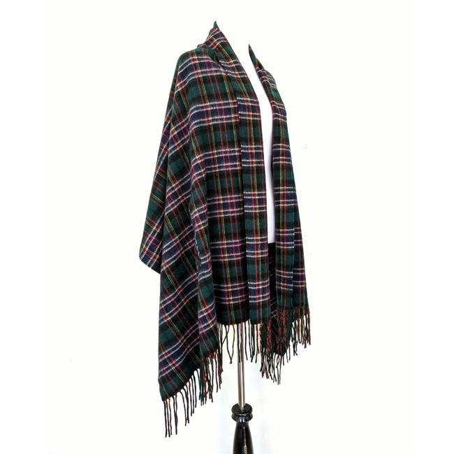 Item - Blue Green Plaid Tartan Wool Scarf Poncho/Cape Size OS (one size)