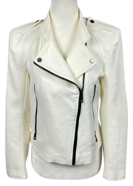 Item - Cream White Fabric Cropped Jacket Size 8 (M)