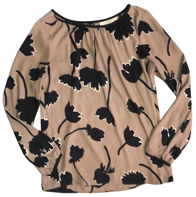 Item - Tan Black and White Flowered Print Blouse Size 6 (S)