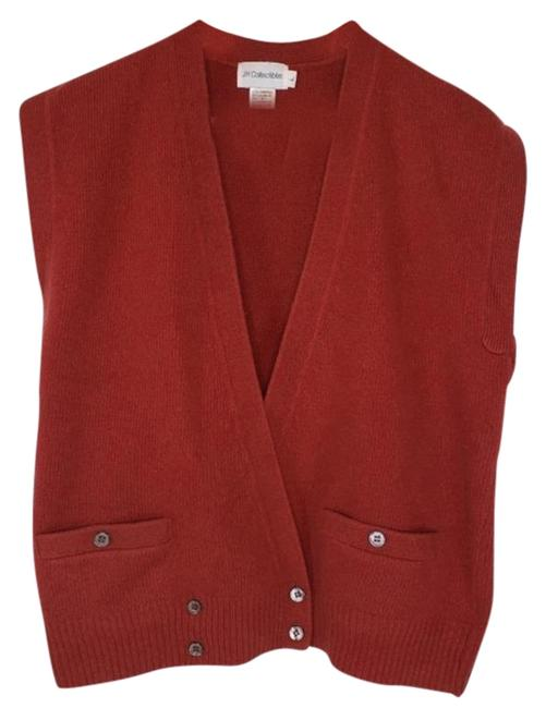 Item - Red Lambswool Cashmere Sweater Vest Cardigan Size 12 (L)