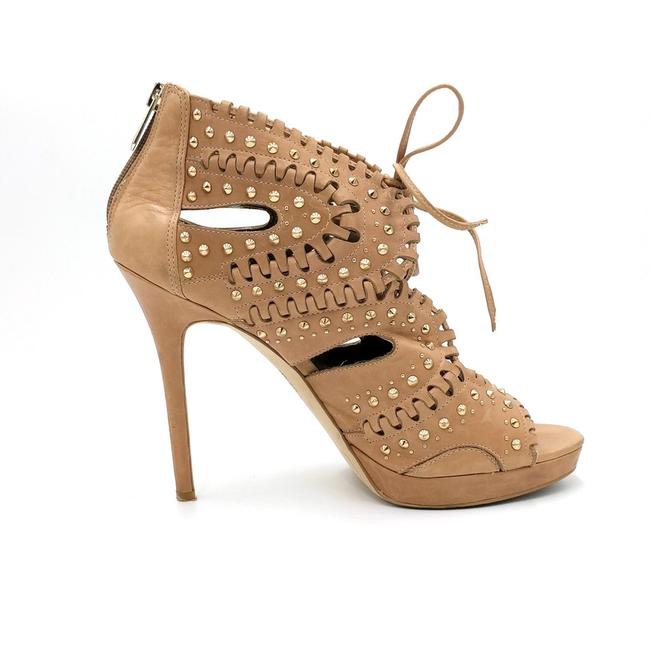 Item - Nude Elyese Studded Cutout Platform Leather Sandal Heels Pumps Size US 9 Regular (M, B)