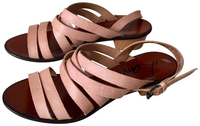 Item - Blush Nude Strappy Leather Wooden Block Heel Sandals Size EU 38.5 (Approx. US 8.5) Regular (M, B)
