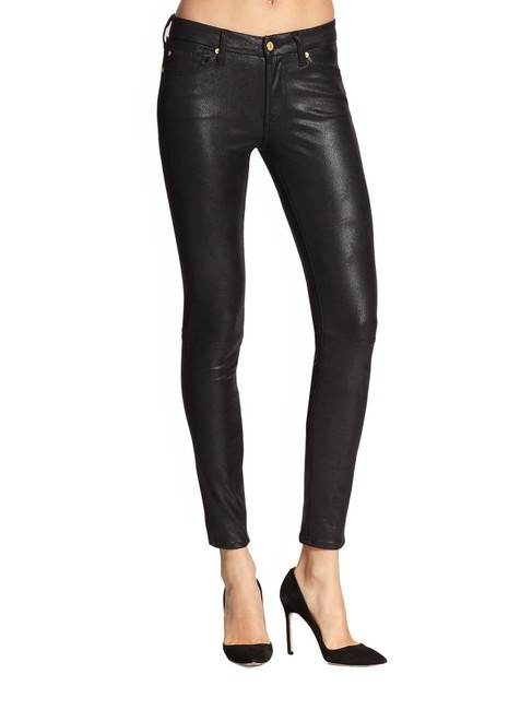 Item - Black Coated Polyester Spandex Wax Jeggings Size 27 (4, S)
