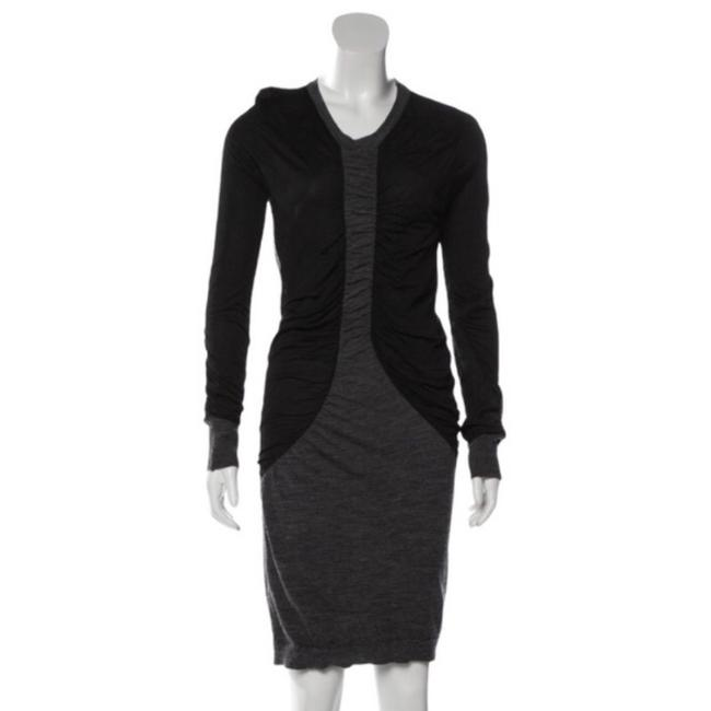 Item - Gray Ruching Mid-length Short Casual Dress Size 2 (XS)