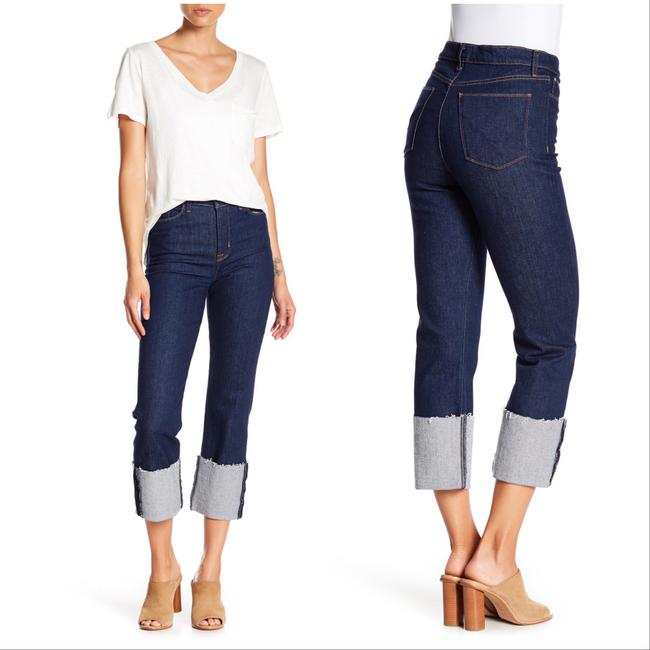 Item - Dark Rinse Zooey High Waisted Deep Cuff Straight Crop Capri/Cropped Jeans Size 0 (XS, 25)