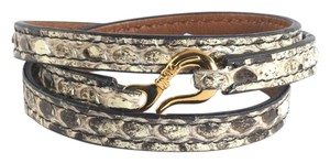 Ippolita IPPOLITA 18K YELLOW GOLD PELLE MINI HOOK NATURAL PYTHON LEATHER WRAP BRACELET
