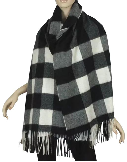 Item - Black Gray White New Giant Oversize Check Cashmere Extra Long Shawl Scarf/Wrap