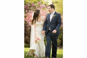 Matthew Christopher Ivory Chantilly Lace Over Champagne Sofia Wedding Dress Size 6 (S)
