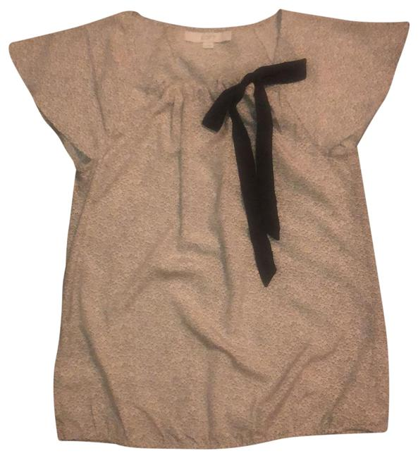 Item - Beige with Black Flutter Sleeve Bow Front Blouse Size 6 (S)