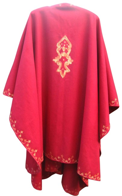 Item - Red Vtg Raiment Fashions Wool Stole Womens Poncho/Cape Size OS (one size)