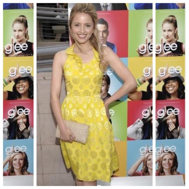 Item - Yellow As Seen On Dianna Elise Agron From Glee The Family Berlin I Love You... Lauren Moffat Silk Halter Mid-length Cocktail Dress Size 8 (M)