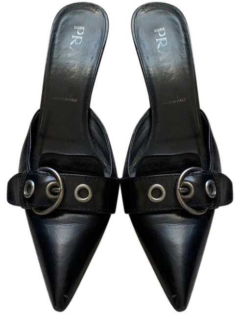 Item - Black Leather Heels/ / Mules/Slides Size US 10.5 Regular (M, B)