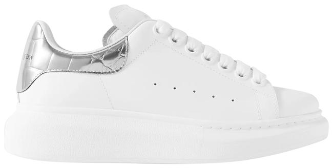 Item - White Silver Metallic-trimmed Leather Exaggerated-sole Sneakers Size EU 40.5 (Approx. US 10.5) Regular (M, B)