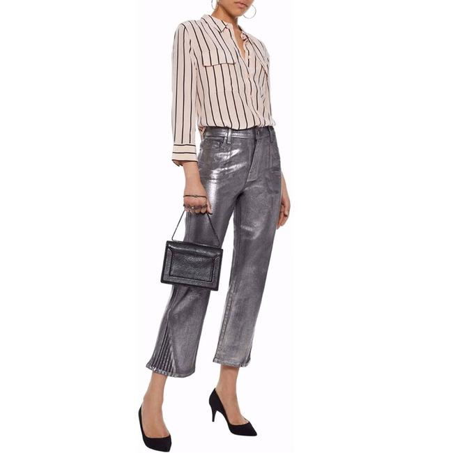 Item - Black Coated Selena Mid Rise Crop Foiled Chrome Silver Bootcut Flare Leg Jeans Size 25 (2, XS)