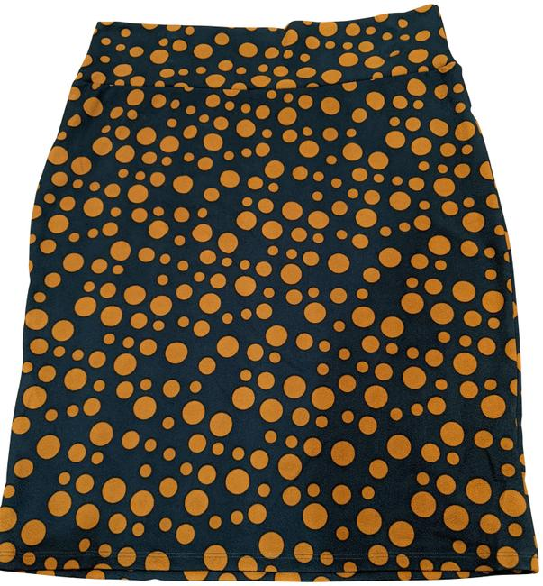 Item - Teal and Gold Polka Dot Cassie Skirt Size 26 (Plus 3x)