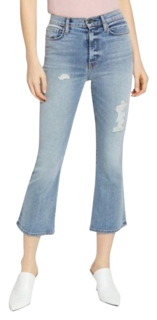 Item - Blue Light Wash Holly High Rise Flare Capri/Cropped Jeans Size 24 (0, XS)