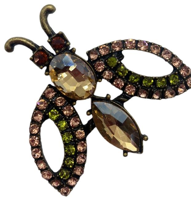 Item - Beige Pink Green and Red Large Swarovski Rhinestone Winged Bug Pendant