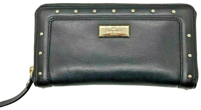 Item - Black Leather Zipper with Silver Grommets Wallet