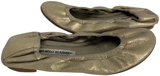Item - Gold 591120 Metallic Leather Scrunchy Ballet Flats Size EU 38 (Approx. US 8) Regular (M, B)