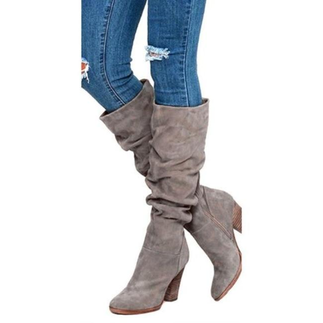 Item - Gray Slouch Tall Heeled Boots/Booties Size US 6 Regular (M, B)