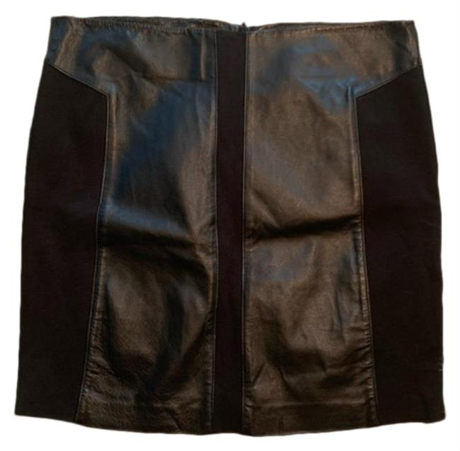 Item - Black Leather Stretch Panels Solid Skirt Size 6 (S, 28)