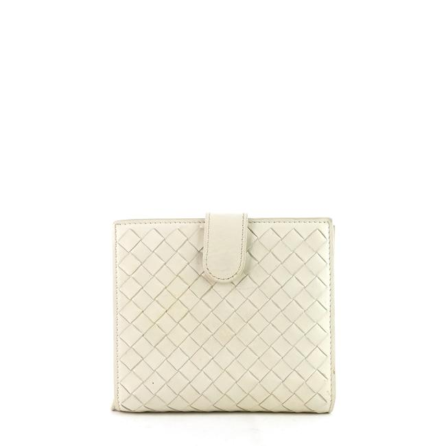Item - White Intrecciato Nappa Leather French Flap Wallet