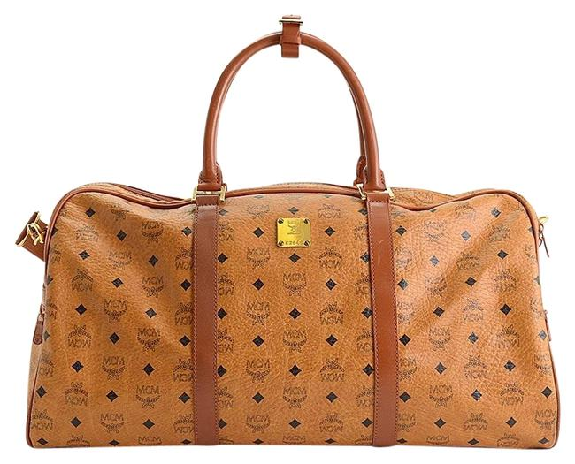 Item - Rdc11248- Visetos Boston Cognac Brown Coated Canvas/Leather Weekend/Travel Bag