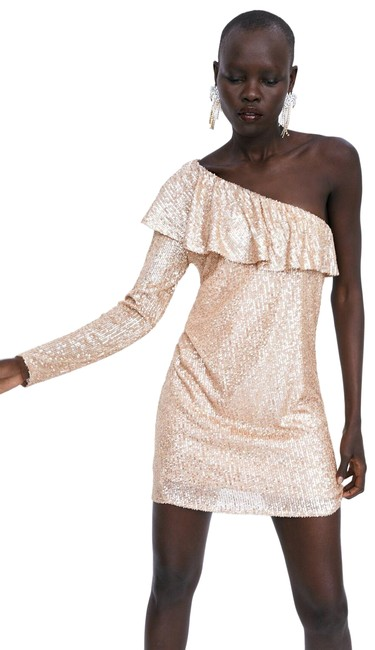 Item - Gold/Cream New Ruffled Sequin 5507/007 Short Cocktail Dress Size 4 (S)