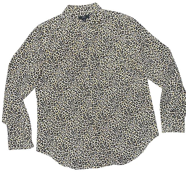 Item - Leopard (Tan and Black) Silk Button-down Top Size 10 (M)