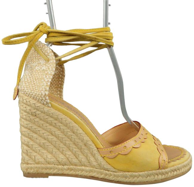 Item - Yellow Suede Tied Ankle Strap Espadrille Wedges Size US 9.5 Regular (M, B)