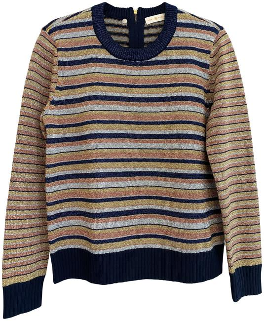 Item - Metallic Striped Long Sleeve Shimmer Multi Color Sweater