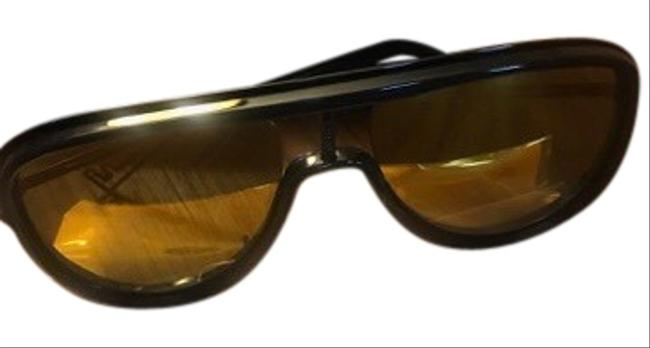 Item - Black with Yellow Lens Multilayer Gold Sunglasses