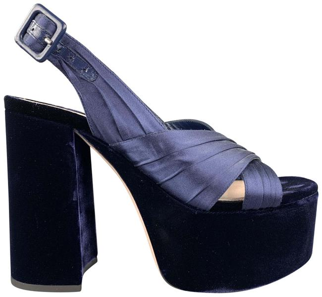 Item - Navy Velvet Chunky Heel Platform Sandals Pumps Size US 8 Regular (M, B)
