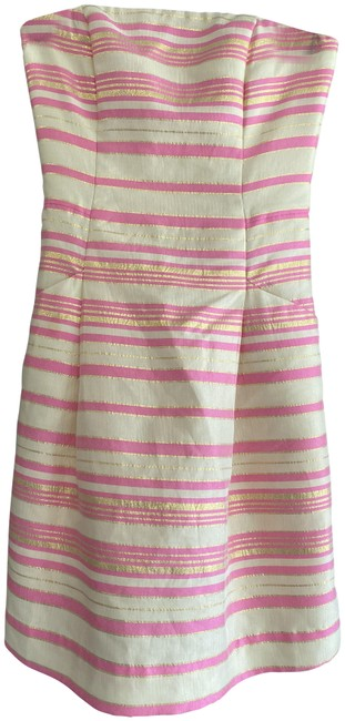 Item - Pink Cream Gold Striped Strapless Style#21206 Mid-length Night Out Dress Size 00 (XXS)