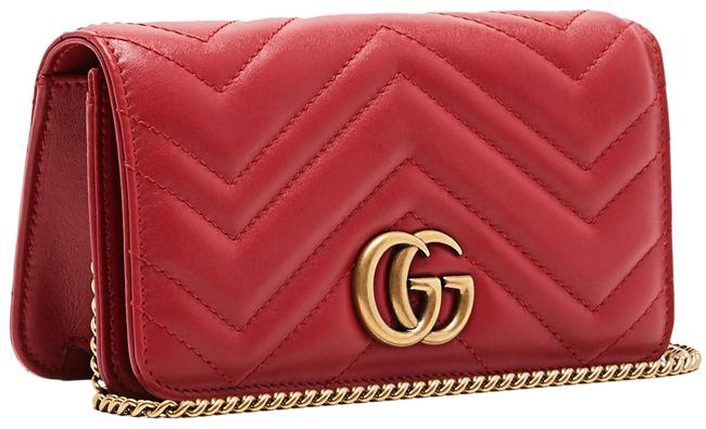 Item - Chain Wallet Marmont New Mini Quilted Red Leather Cross Body Bag