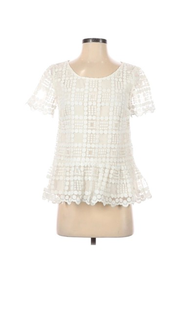 Item - White Lace Peplum Blouse Size 6 (S)