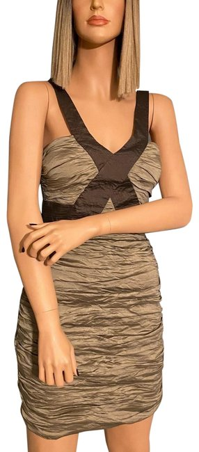 Item - Olive Green & Mocha Simsom Sleeveless Ruched Tafetta Short Cocktail Dress Size 4 (S)
