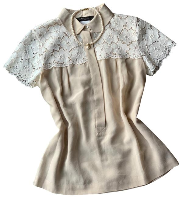 Item - Cream Silk with Floral Lace Blouse Size 6 (S)