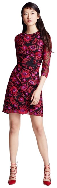 Item - Red Purple Floral Embroidered Mesh Sheath Mid-length Cocktail Dress Size Petite 6 (S)