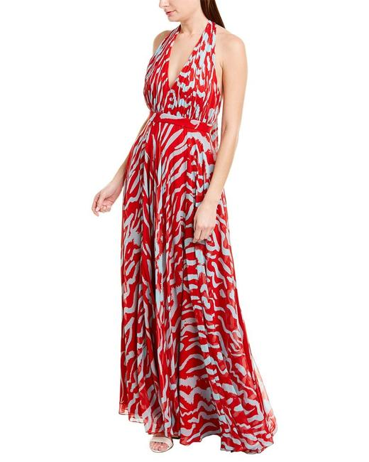 Item - Red White Halter Tie Neck Printed Gown Long Night Out Dress Size 0 (XS)