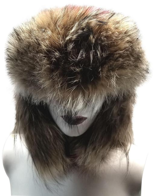 Item - Red Down Fill Aviator with Genuine Coyote Fur Trim Hat