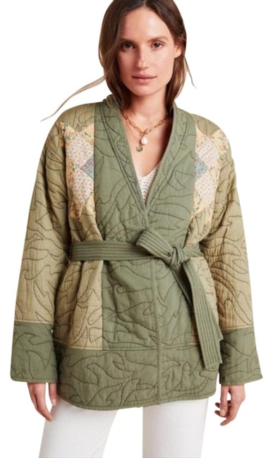 Item - Green Kimono Quilted Patchwork Jacket Size Petite 10 (M)