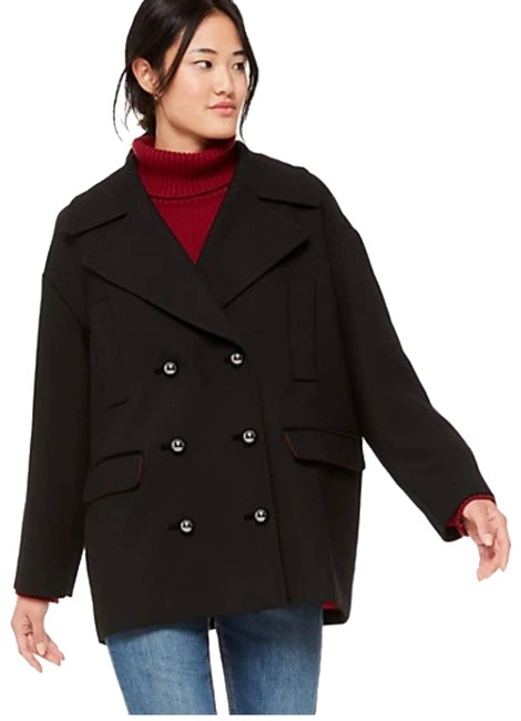 Item - Black Broome Street Modern Wool Blend Large Coat Size 12 (L)