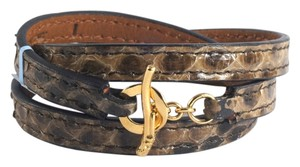 Ippolita IPPOLITA 18K Yellow Gold Brown Python Leather Wrap Bracelet Toggle Pelle Size 1