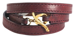 Ippolita IPPOLITA 18K Yellow Gold Bordeaux Leather Wrap Bracelet Toggle Pelle Size 1
