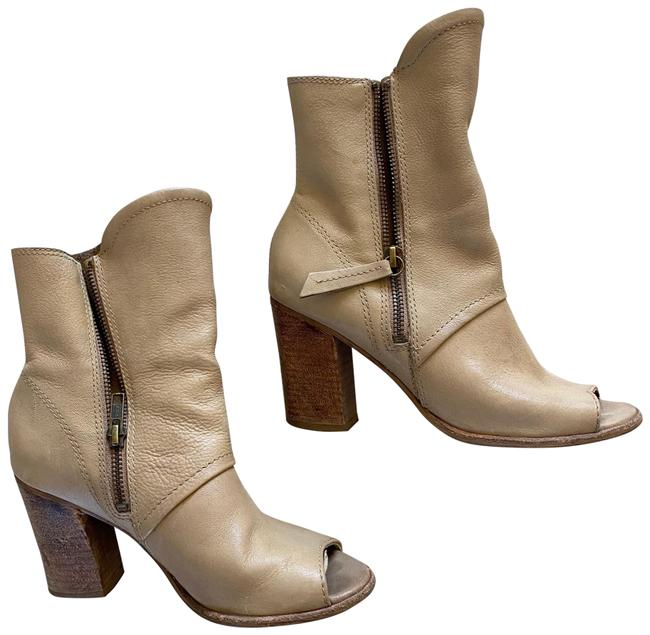 Item - Tan Brown Peep Toe Leather Ankle Boots/Booties Size US 6 Regular (M, B)