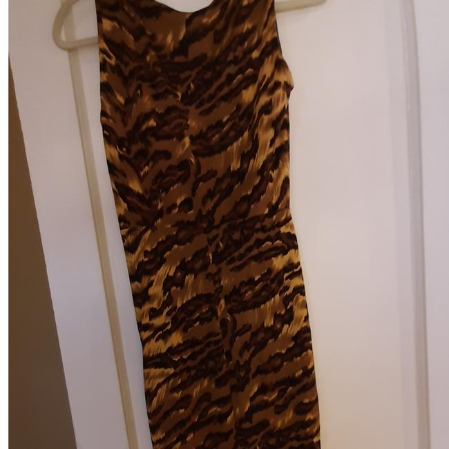 Item - Orange Brown Tiger Print Silk Short Casual Dress Size 6 (S)